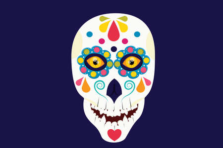 A Mexican skull with beautiful eyes is isolated on a dark background. Vector illustration in flat cartoon style. Skull for the day of death a Mexican holiday.