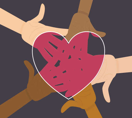 Hands of different nationalities in the center are isolated on a white background. Vector illustration in flat cartoon style. No to racism. All skin colors on the palms in one heart of the same color.
