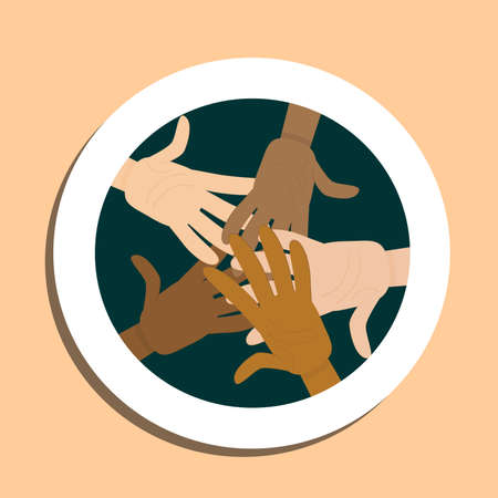 Hands of different nationalities in the center are isolated on a sticker.