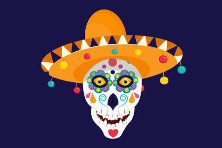 A Mexican skull with beautiful eyes in a sombrero is isolated on a dark background.
