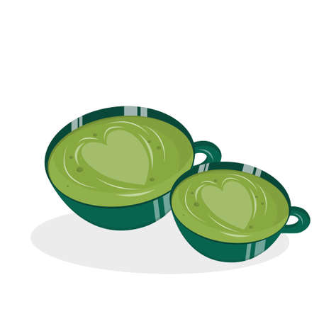 Mugs with matches isolated on a white background. illustration in flat cartoon style. Green Japanese tea, healthy food and drinks. There are hearts and beautiful streaks in the cups.