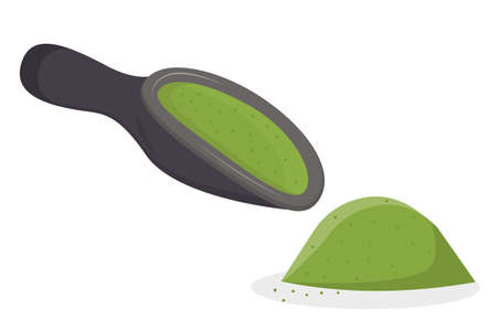 A scoop of matcha tea and a handful is isolated on a white background. Vector illustration in flat cartoon style. Green Japanese tea, healthy food and drinks.