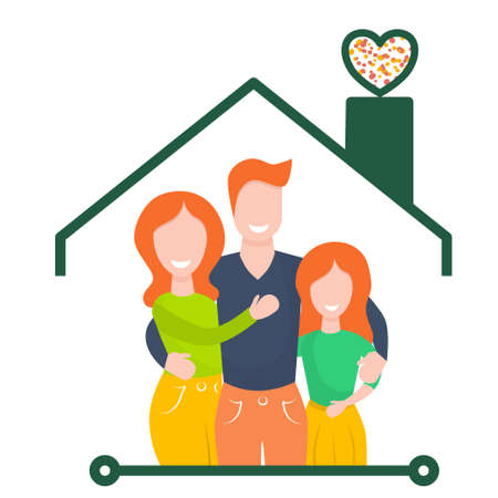 Happy family in a house isolated on a white background. Vector illustration in flat cartoon style. Husband, wife and daughter smile and hug. Stay at home in a pandemic.