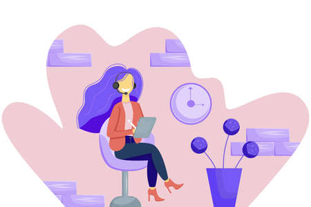A smiling girl with a tablet and a pen in headphones is sitting on a chair. In the background, a brick wall, a flower, and a clock. Vector illustration in flat style. Remote education or work. 일러스트