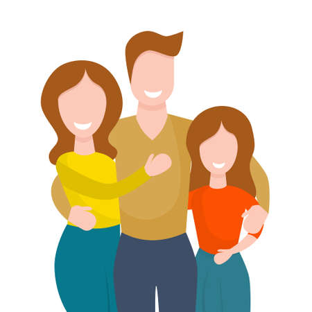 Happy family hugging isolated on white background. Vector illustration in flat cartoon style. Husband, wife and daughter stand together, smiling and hugging.