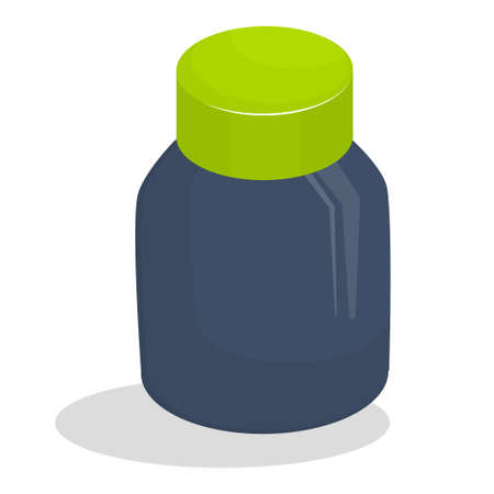 A jar for medical tablets is isolated on a white background. Vector illustration of an isometric view. Ilustrace