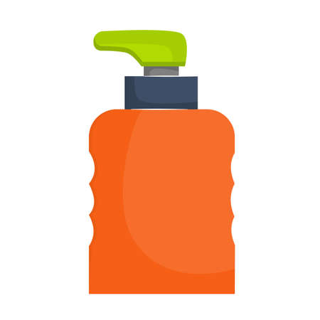 The dispenser bottle is isolated on a white background. Dispenser for liquid or antiseptic. Bright bottle with an uneven surface for the hands. Vector illustration in a flat, cartoon style. 向量圖像