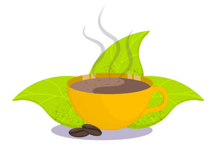 Fragrant Cup of coffee with steam and leaves isolated on a white background. Hot drink in a Cup. Vector illustration in flat cartoon style.
