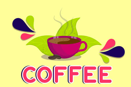 Fragrant Cup of coffee with steam and leaves isolated on a white background. Hot drink in a Cup with coffee text. Vector illustration in flat cartoon style.