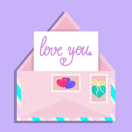 Valentine's day envelope, open with a piece of paper and stripes. Declaration of love in handwriting and stamps with hearts. Vector illustration in flat cartoon style.