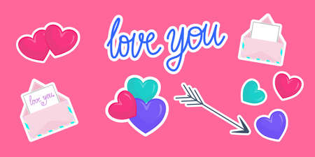 Set of stickers for Valentines day. Hearts, the inscription love you, arrow and envelopes with a confession. Vector illustration in flat cartoon style. Icons with a stroke.