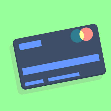 The credit card is isolated on a colored background. Card for online purchases, an item from the set. Vector illustration in flat style.