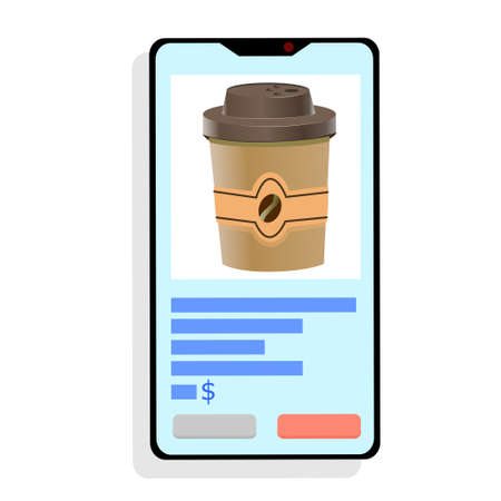 Buy coffee or tea online, smartphone on a white background. Phone with a Cup, online stores. Remote purchases. Vector illustration in flat style.. 向量圖像