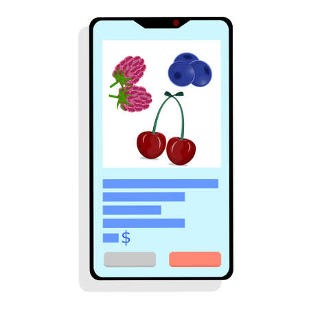 Buy fruit online, smartphone on a white background. Phone with cherries, raspberries and blueberries, online stores. Remote purchases. Vector illustration in flat style..