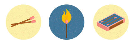 A box of pink matches, a burning match and two pieces in a circle with noises isolated on a white background. Elements in the isometry from a set of matches. Vector illustration in flat style.