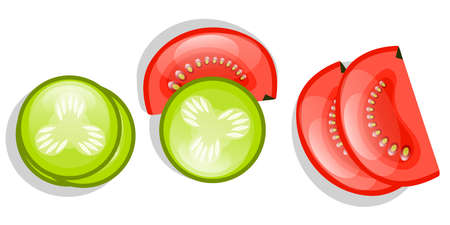 Cucumbers and tomatoes are isolated on a white background. Circles of cucumber and half a tomato sliced for sandwiches. Vector illustration. Proper nutrition..