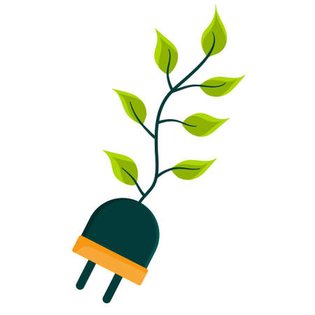 The save energy logo is isolated on a white background. A leafy power plug. Vector illustration in flat style. An element from the design kit.. Vectores