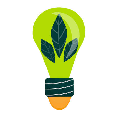 The save energy logo is isolated on a white background. Green light bulb with leaves. Vector illustration in flat style. An element from the design kit..