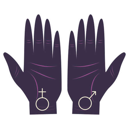 Hand of the philosopher, palm with a set of gender symbols astrologers. Variety of element values. Palmistry and palmistry, look to the future. Vector illustration..
