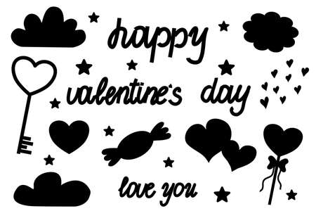 A set of Valentine's day silhouettes isolated on a white background. Items for the holiday in a simple style, black, heart, stars, clouds. Happy Valentine's day caption. 向量圖像