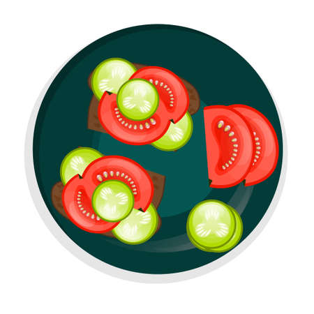 Vegan sandwich with cucumber and tomatoes on a plate, isolated on a white background, top view. Black bread with vegetables for a snack. Vector illustration. 向量圖像