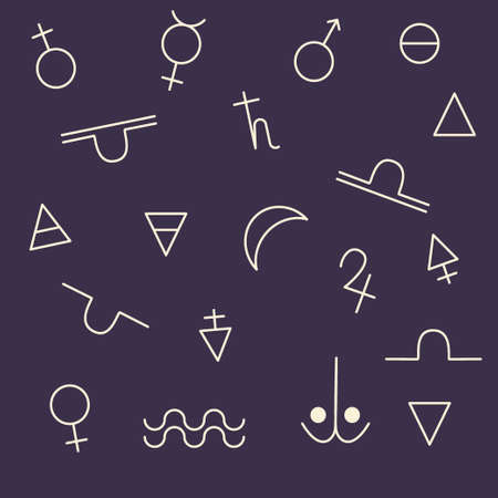 A drawn vector set of alchemical symbols is isolated on a dark background. For mystical illustration, palmistry and astrology. Vector illustration.
