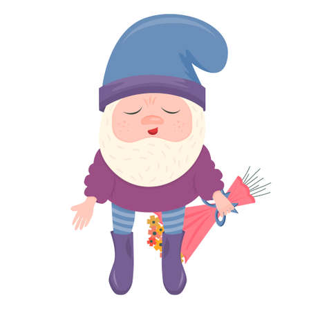 A confused dwarf with a bouquet of flowers on his back is isolated on a white background. A dwarf gives a bouquet for Valentine's day. Vector illustration for greeting cards and Valentines.