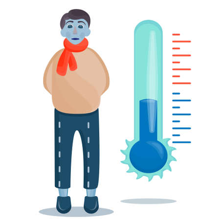 A frostbitten boy with a thermometer is isolated on a white background. Negative temperature, the boy with doorways and without a hat froze. Vector illustration.