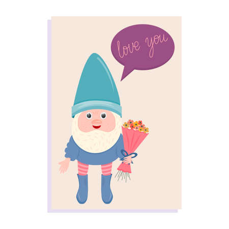 A card with a gnome and a bouquet of flowers for Valentine's Day is isolated on a white background. Vector illustration for February 14-Valentine's Day.