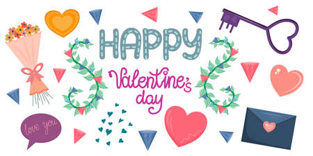 A set of Valentine's Day objects and lettering is isolated on a white background. Vector clipart for Valentines and postcards for Valentine's Day-February 14. 向量圖像