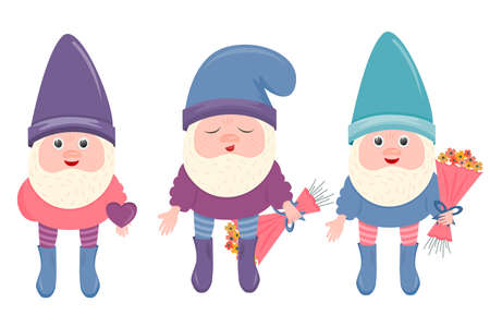 A set of gnomes for Valentine's Day isolated on a white background. Gnomes with a bouquet of flowers and a heart in their hands. Vector illustration for postcards for February 14-Valentine's Day.