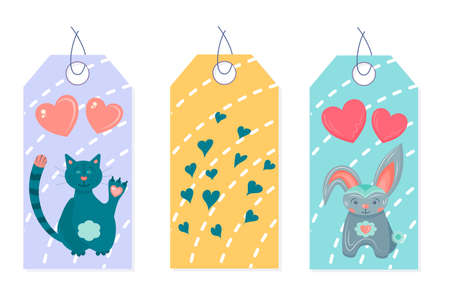 set of valentine's day tags with cute animals and hearts isolated on a white background. tags for february 14-valentine's day. 向量圖像