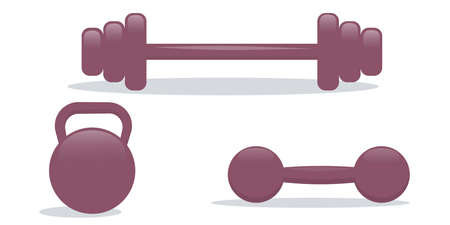 The sports kit is isolated on a white background. Metal kettlebell, barbell and dumbbells for sports and body swing. Vector illustration.