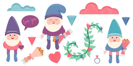 Clip art with gnomes for Valentine's Day is isolated on a white background. Gnomes, hearts, crystals, flowers for decorating cards and gifts for February 14-Valentine's Day. 向量圖像