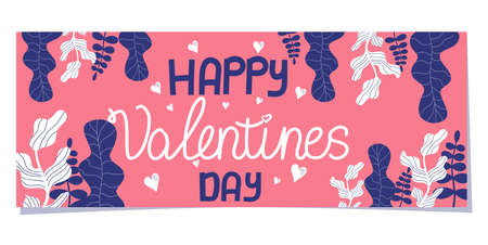 Happy Valentine's Day banner in Scandinavian style, isolated on a white background. pink rectangle with an inscription and flowers, hearts, branches to celebrate february 14-valentine's day.