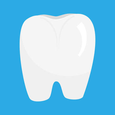 The white tooth is isolated on a blue background. Vector illustration for dentists, clean and healthy tooth. 向量圖像