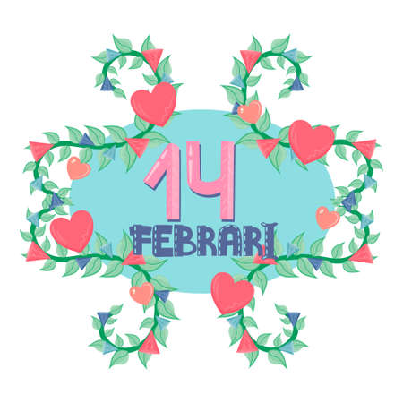 Valentine's Day is isolated on a white background. The inscription on February 14 is surrounded by leaves, hearts and crystals.