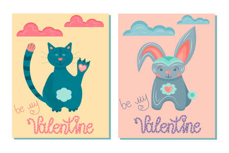 A set of greeting cards for Valentine's Day isolated on a white background. postcards with the inscription be my valentine with cute animals in the scandinavian style for february 14-valentine's day.