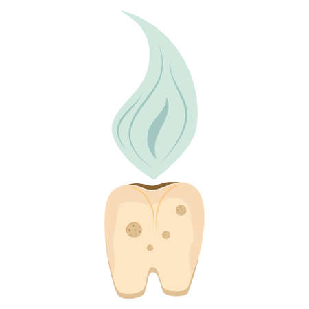 A rotten tooth is isolated on a white background. a yellow, diseased tooth with a bad smell, requires hygiene and treatment. Vector illustration.