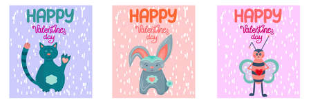 A set of Valentines Day greeting cards isolated on a white background. happy valentines day greeting cards with cute animals in scandinavian style for february 14.. 向量圖像