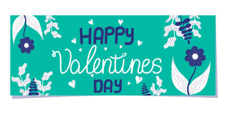 A Scandinavian-style Valentines Day banner isolated on a white background. turquoise rectangle with an inscription and flowers, hearts, branches for the celebration of february 14-valentines day.. 向量圖像