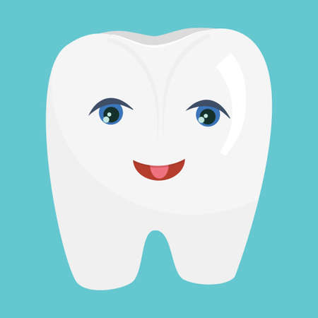 The character White Tooth with eyes and a cartoon-style smile is isolated on a blue background. Vector illustration for dentists, clean and healthy tooth.. 向量圖像