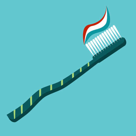 A flat-style toothbrush is isolated on a dark background. brush for brushing teeth, with toothpaste. The importance of daily brushing for health and beauty..