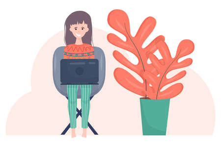 The girl is a freelancer with a laptop in cartoon style on white background. A woman is sitting on a chair with a laptop in her clothes, next to a large flower. Freelance work on the Internet.. 向量圖像