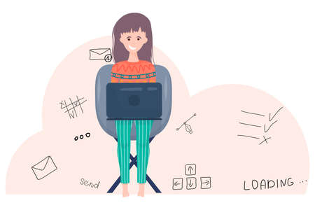 The girl is a freelancer with a laptop in cartoon style on white background. Woman sitting on chair with laptop in clothes, icons work in doodle style. Freelance work on the Internet..