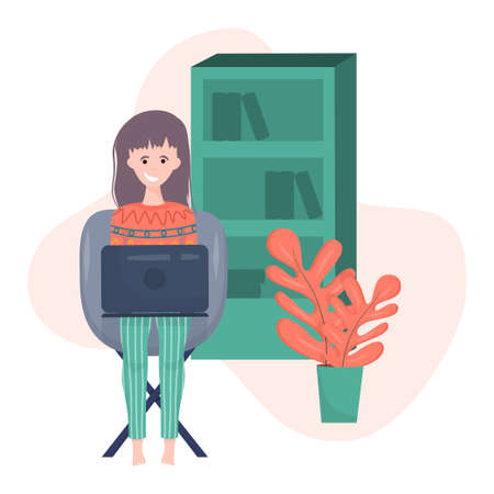 Freelance girl with a laptop in cartoon style on a white background. A woman is sitting on a chair with a laptop in her clothes, next to a large flower and a bookcase . Freelance work on the Internet.