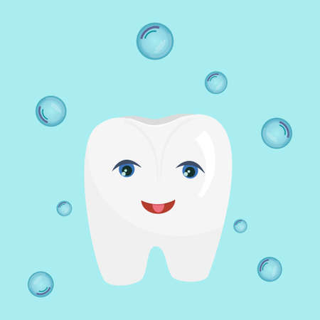 The character is a white tooth with eyes and a cartoon smile isolated on a blue background. Vector illustration for dentists, clean and healthy tooth shining, around soap bubbles..