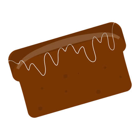 Black bread is isolated on a white background in a cartoon style. Vector illustration of food..