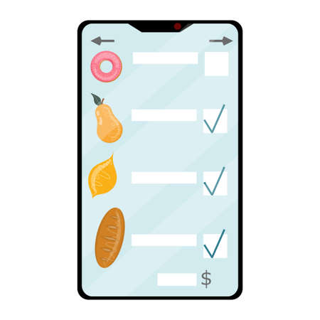 Delivery of online food orders. Mobile phone with food list in cartoon style isolated on white background.Vector illustration