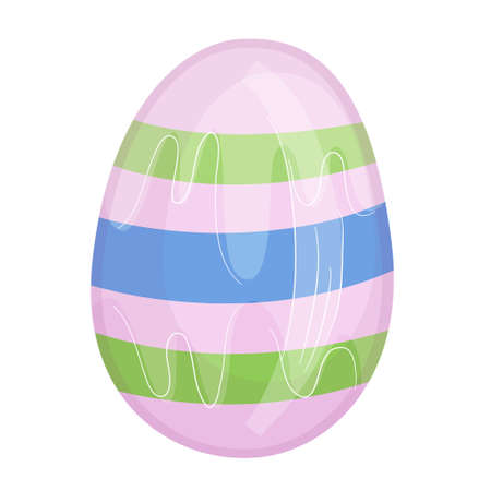 Colorful Easter egg in cartoon style isolated on white background. Pink egg with stripes for holiday illustrations to..